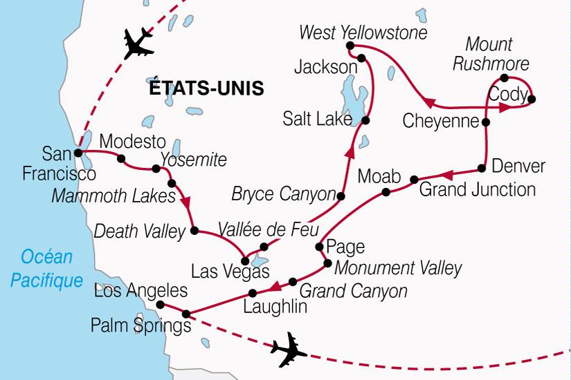 Top Circuit aux Etats-Unis : Splendeurs de l'Ouest Américain 19 jours  OX36