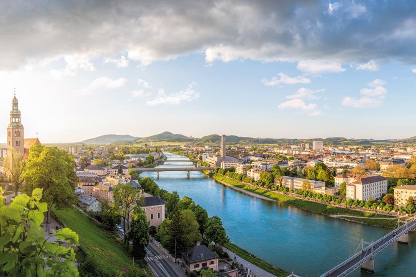 image Autriche salzbourg vue panoramique ville salzbourg riviere salzach soiree 96 as_110014451