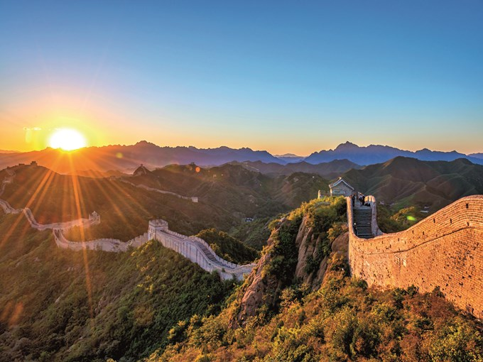image Chine grande muraille de chine soleil