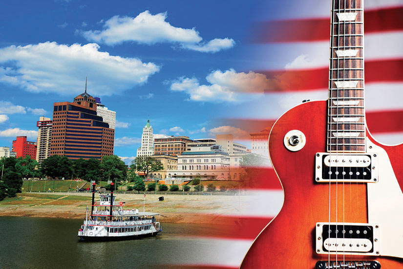 image Etats Unis Guitare musique ville bateau