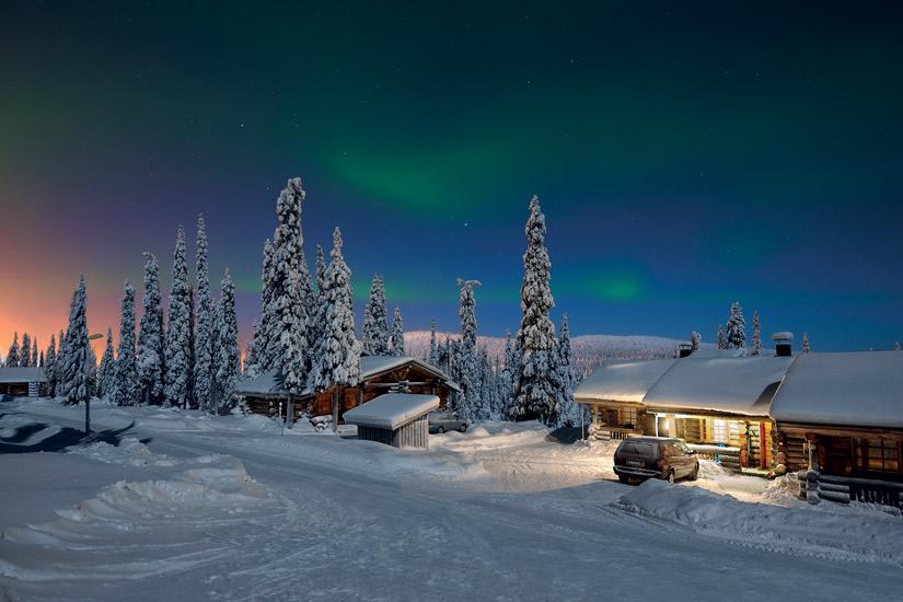 image Finlande laponie aurore boreale neige foret arbres nuit 50 as_87072632