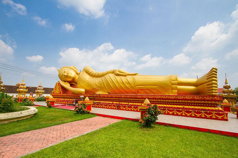 image Laos Vientiane Temple Wat que Luang Pha  it