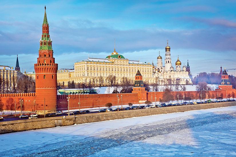 image Russie Moscou riviere du Moscou sur le coucher du soleil en hiver  fo