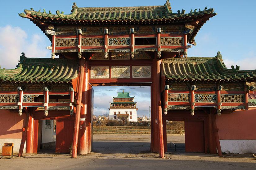 image mongolie gandan monastere entree principale  fo