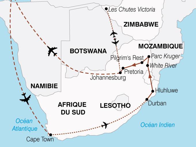 CARTE Afrique Australe Cap Bonne Esperance Chutes Victoria  shhiver 135797