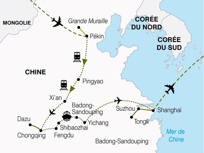 CARTE Chine Circuit Croisiere Yang Tse  shhiver 711674