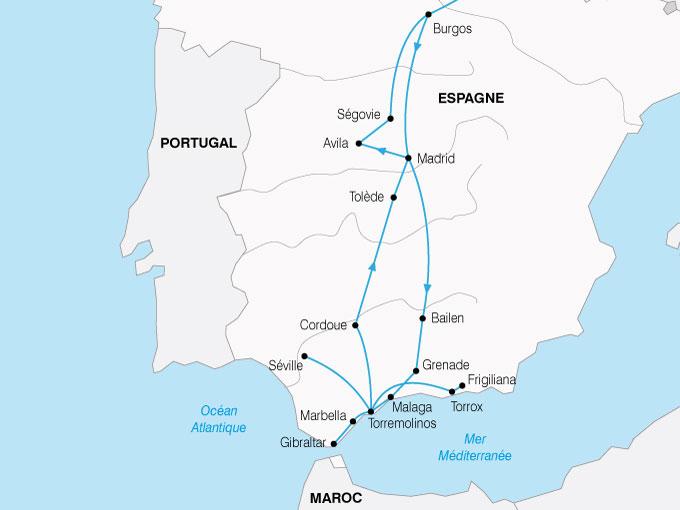 CARTE Espagne Andalousie Castille  shhiver 829808