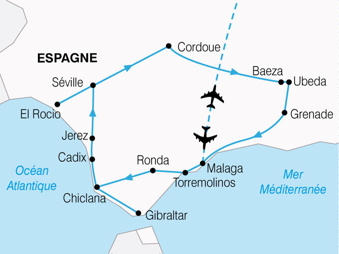 CARTE Espagne Grand Tour Andalousie  shhiver 562337