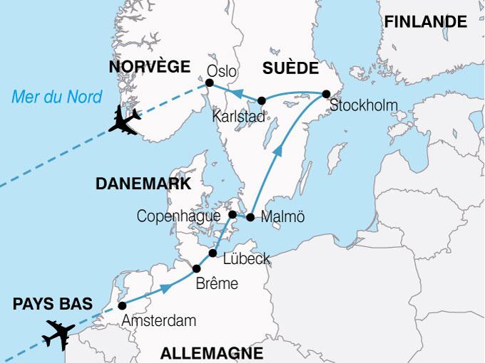 Carte Europe Pays Bas.Circuit Les Capitales Nordiques Allemagne Danemark Norvege Pays