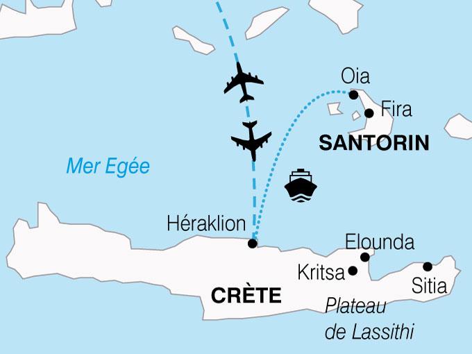 CARTE Grece Douceur Mediterraneennes Crete Santorin  shhiver 644245