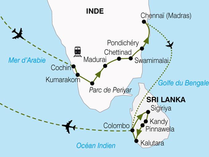 CARTE Inde du sud au Sri Lanka  shhiver 563698