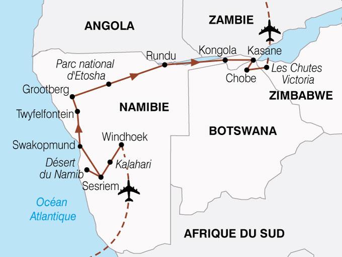 CARTE Namibie Botswana Zimbabwe Periple  shhiver 508608