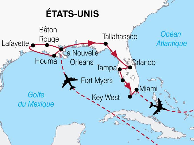 CARTE USA Lousiane Floride  shhiver 873089