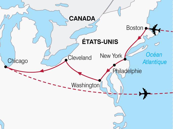 CARTE USA Tresors Est Americain Atlantique Grands Lacs  shhiver 793619