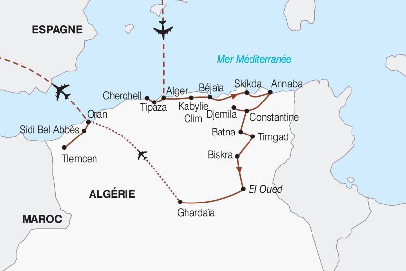 Carte Algerie El Oued.Circuit En Algerie Le Grand Tour D Algerie De Bab El Oued