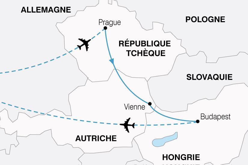 Carte Europe Vienne Prague Budapest.Circuit Autriche Hongrie Republique Tcheque L Empire