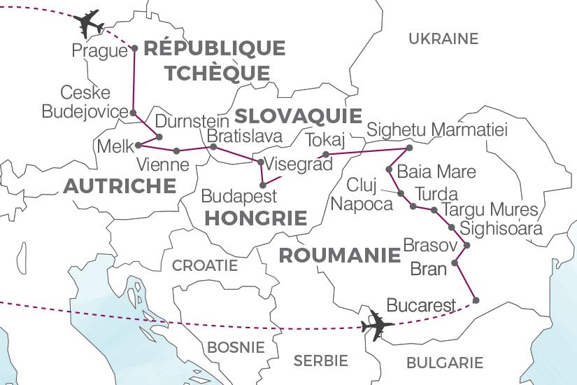 carte Autriche Hongrie Republique Tcheque Roumanie Slovaquie La grande traversee de l Europe centrale Pouchkine Tours 19_286 232018