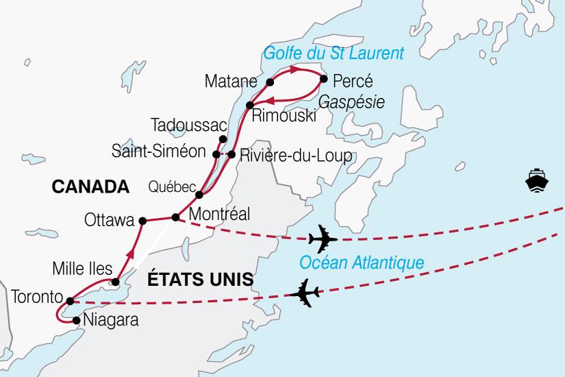 Carte Canada Gaspesie.Circuit Canada Le Canada Et La Gaspesie 15 Jours La