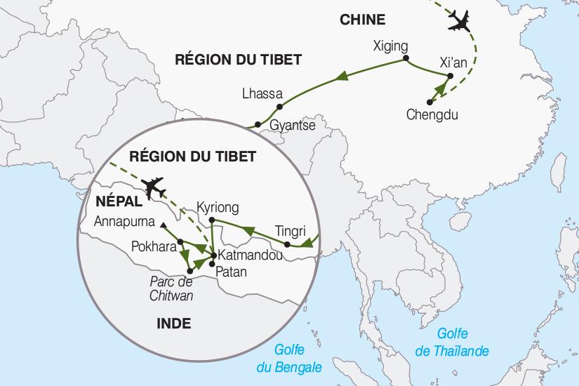 carte Chine Nepal Le Tibet et le Nepal de chaque cote de l Himalaya 2019_292 326033