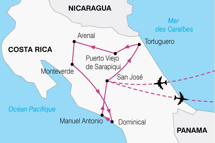 carte Costa Rica Nature et decouverte 659431