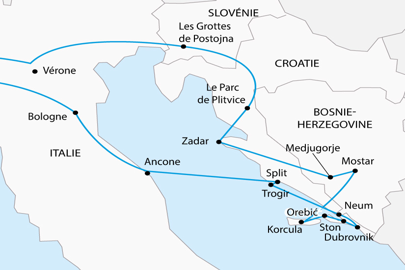 Carte Italie Croatie Slovenie.Voyage En Autocar Bosnie Herzegovine Croatie Slovenie