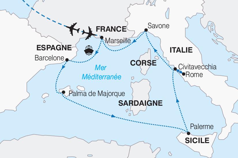 Carte Italie France.Croisiere Espagne France Italie Merveilleuse
