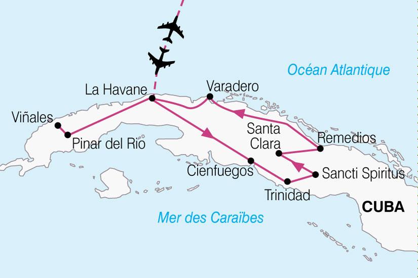 (Map) carte Cuba Escapade Cuba