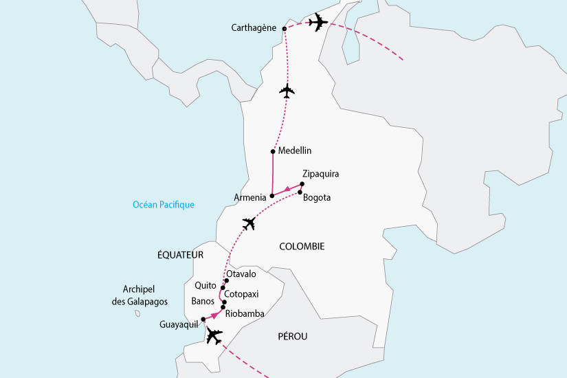 carte Equateur Colombie 446587