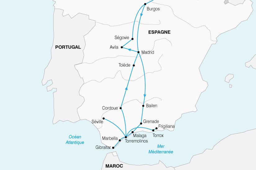 carte Espagne Andalousie Castille 549395