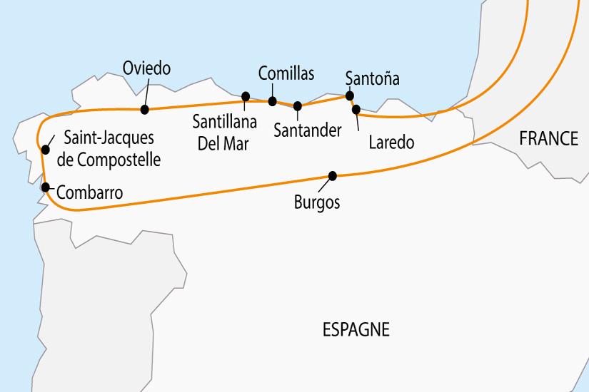 carte Espagne Cantabrie Galice Saint Jacques de Compostelle depart sud 2019_297 256775