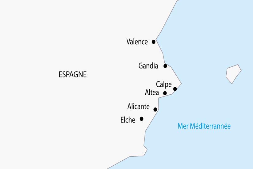 carte Espagne Costa Blanca Valencia depart sud 2019_297 559320