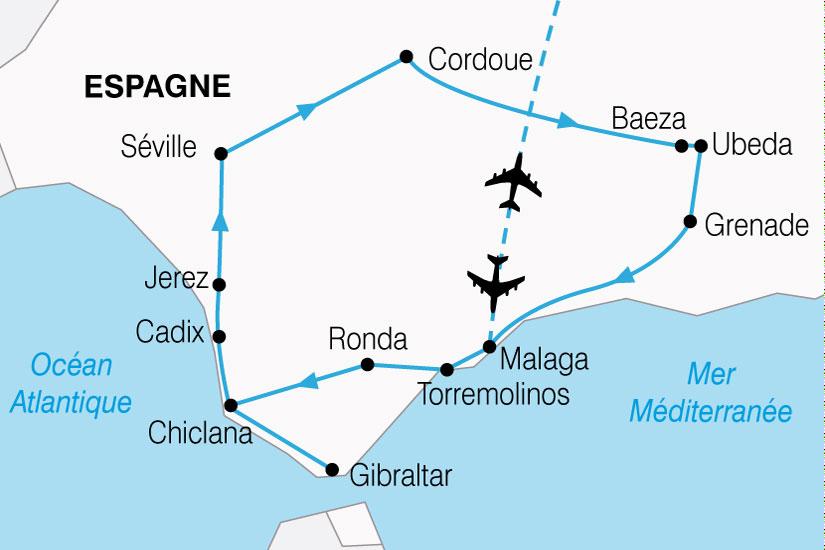carte Espagne Grand Tour Andalousie 562337