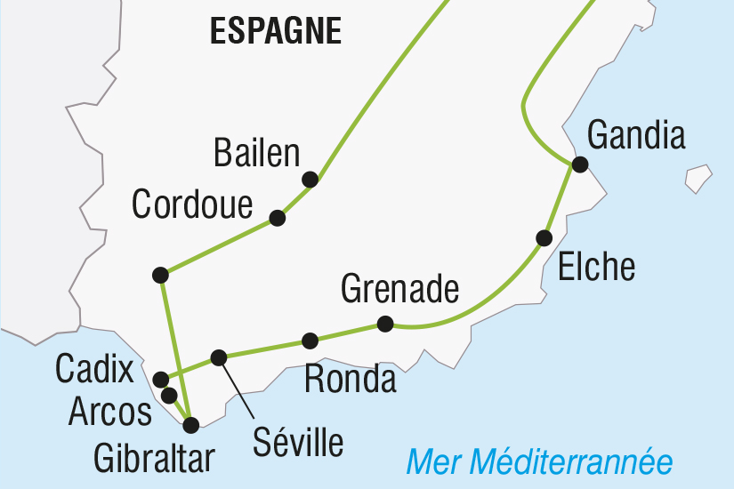 carte Espagne Les Villages Blancs Andalous et Gibraltar SH SUD19 20_321 133272