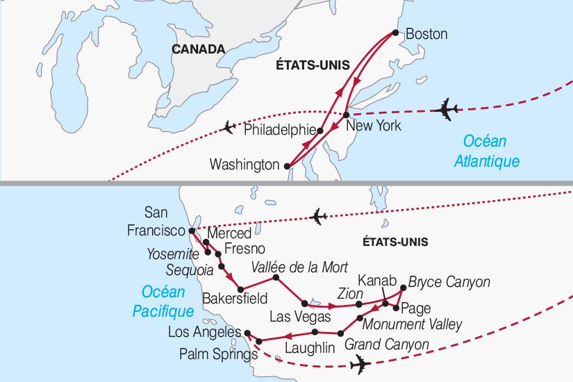 carte Etats Unis Decouverte des USA d Est en Ouest 2018_267 210269