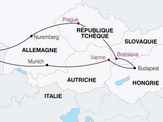 carte Europe Centrale prague brastislava budapest vienne  nthiver 496115
