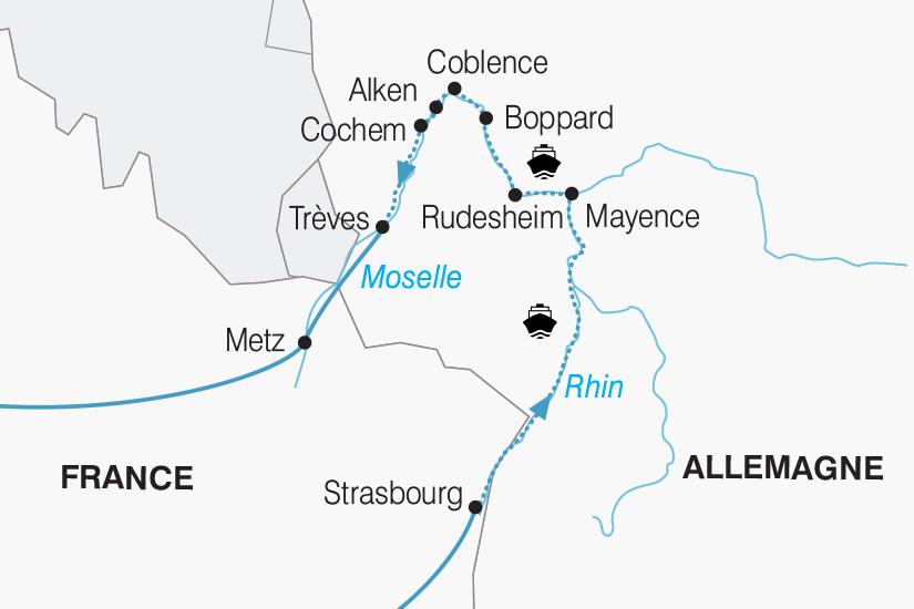 carte France Allemagne Croisiere Rhin et Moselle 2018_267 735010