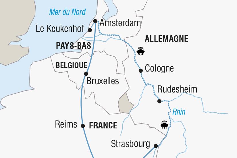 carte France Allemagne Pays Bas Belgique Croisiere sur le Rhin SH SUD19 20_321 449469