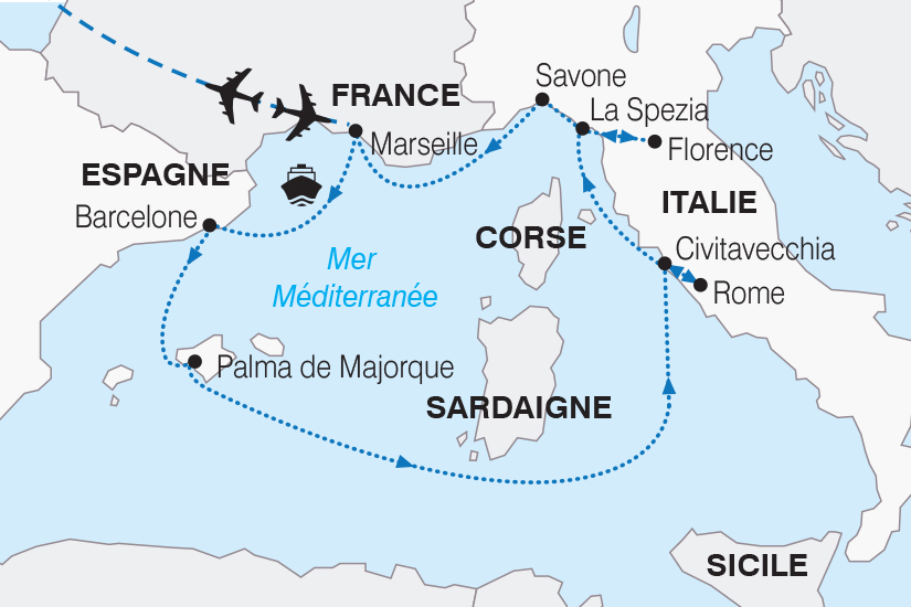 carte France Espagne Italie Croisiere Merveilleuse Mediterranee SH19 20_319 253711