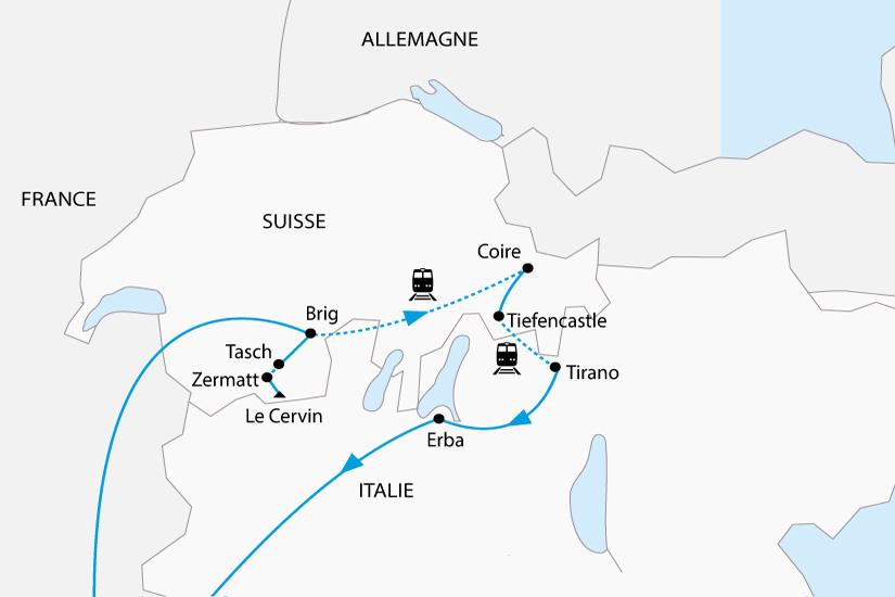 carte Glaciers Suisses en train de montagne depart sud 2019_297 661020