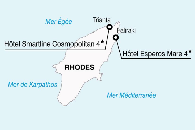 carte Grece Rhodes Hotels Smartline Esperos 142221