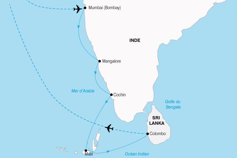 carte Inde Maldives Srilanka 531322
