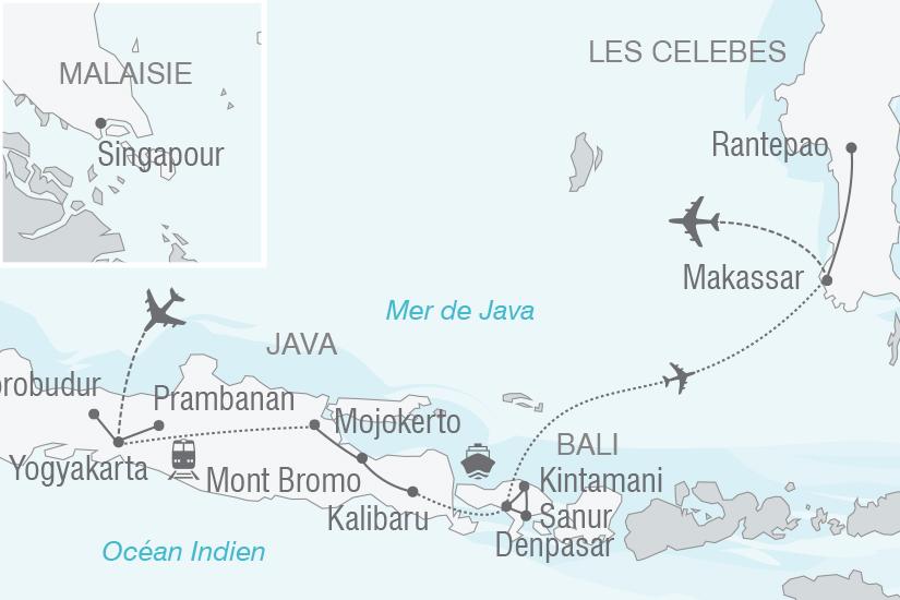 carte Indonesie Feeries Indonesiennes Java Bali les Celebes NT19 20_314 736298