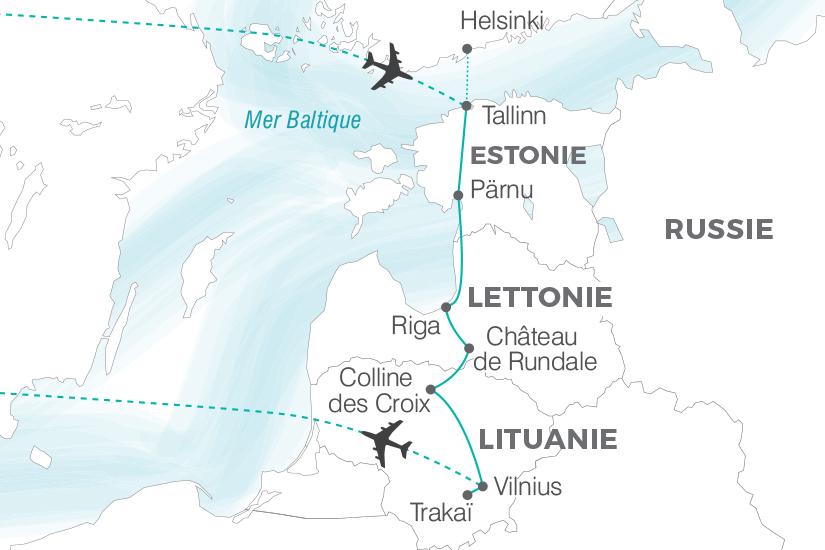 carte Lituanie Lettonie Estonie La Route de l Ambre sens inverse Pouchkine Tours 19_286 277177