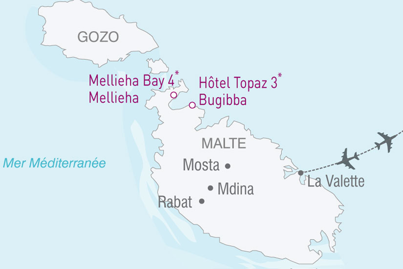 carte Malte Hotel Topaz Mellieha 833960