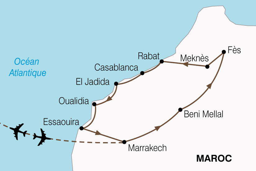 carte Maroc Villes Imperiales Cote Atlantique 129631