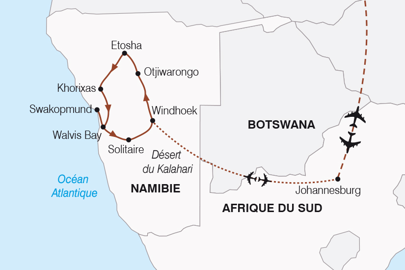 carte Namibie Afrique du Sud Aventure Namibienne SH20_339 427082