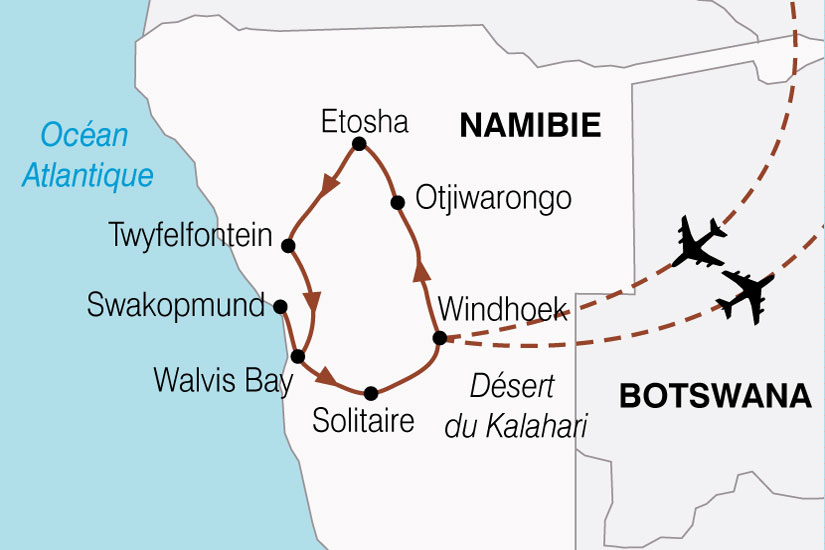 carte Namibie Aventure Nambienne 894275