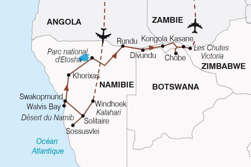 carte Namibie Botswana Zimbabwe Periple au coeur des terres africaines SH 21_359 276957