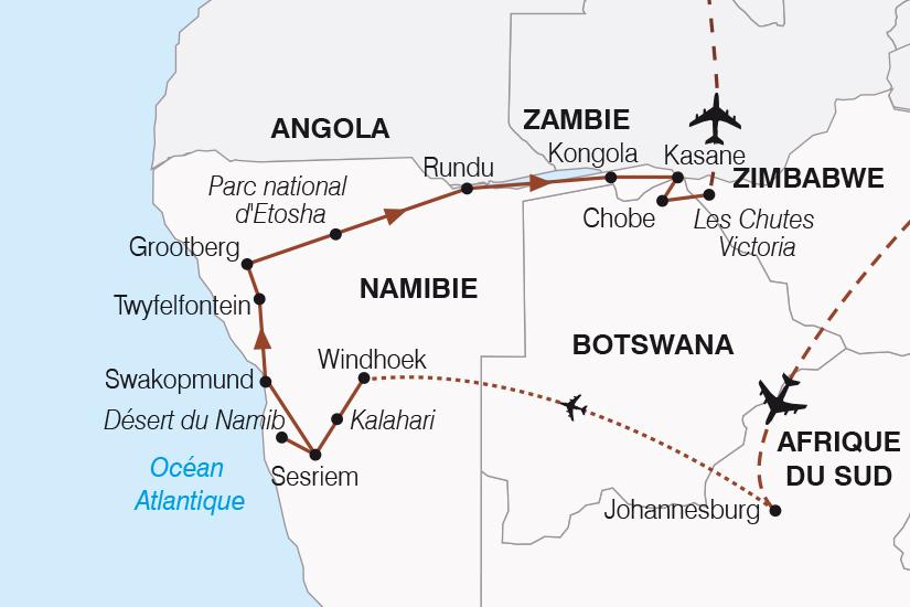 carte Namibie Botswana Zimbabwe Periple au coeur des terres africaines SH20_339 738663