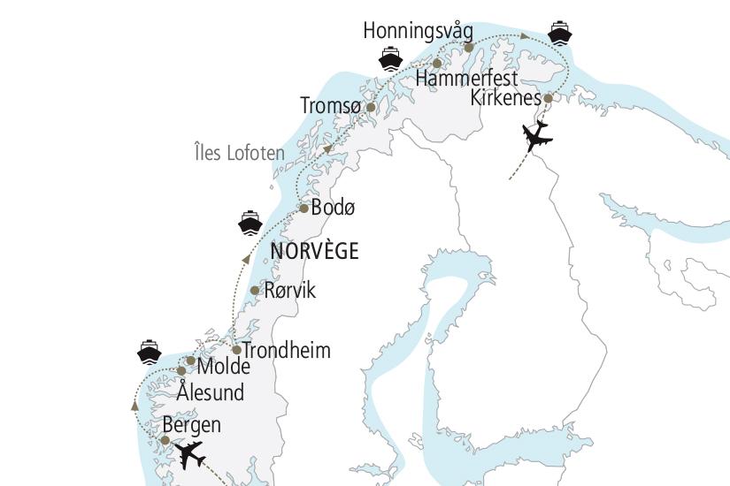 carte Norvege Croisiere Boreale des Fjords a l Arctique NDK18 19_259 375981